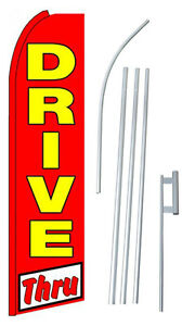 3 Wide Complete 15 Drive Thru Kit Swooper Feather Flutter Banner Sign Flag