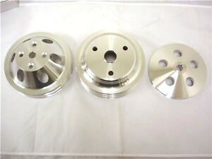 Small Block Chevy Chevy Alum 3 Pulleys Set Long Water Pump Water Crank Ps Pump