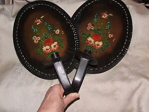 Pair Antique Tin Tole Toleware Wall Candle Sconces W Reflectors Hand Painted