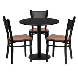 Restaurant Table Set 30 Black Laminate Top With Grid Back Metal Chairs