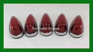 5 Pick up Cab Roof Clearance Marker Teardrop Red Led Lights Ford Chevy Dodge