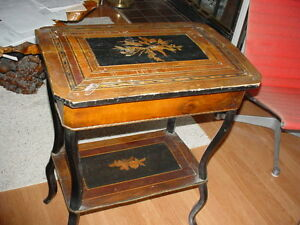 Napoleon Iii Ladies Work Table Stand Two Tier Antique Inlaid Old