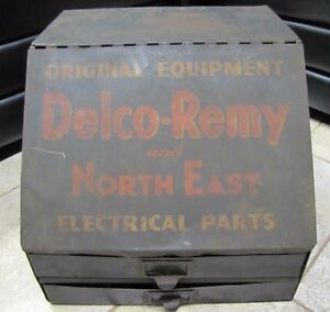 Old Delco Remy Electrical Parts Cabinet Ac Gm Ford Auto Repair Shop Garage Gas
