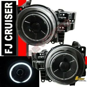 Black Ccfl Halo Angel Eye Projector Headlights For 2007 2014 Toyota Fj Cruiser