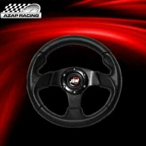 Universal Black Pvc Leather Carbon Look 280mm Racing Steering Wheel Horn Button