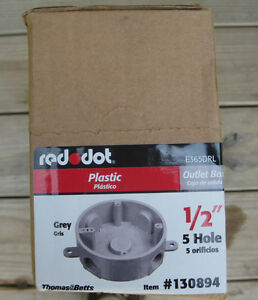 New Reddot Box Of 8 1 2 Round Plastic Electrical Outlet Box 130894 E365drl
