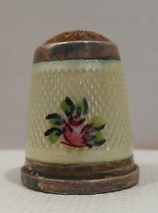 Antique Sterling Silver Enamel Flower Amber Top Thimble Germany Circa 1900s