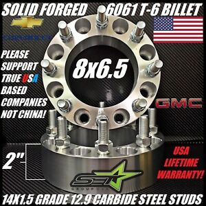 8x6 5 To 8x6 5 Wheel Spacers Adapters 2 Inch Fits Most 8 Lug Chevy Gmc 14x1 5