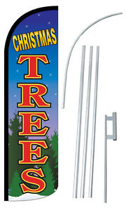 Christmas Trees Feather Flag Sign Banner 30 Wider Super Swooper