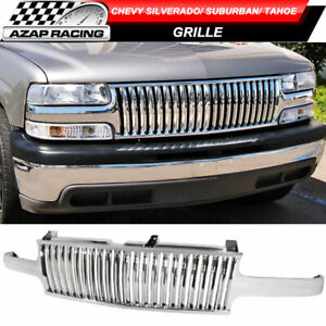 Vertical Style Chrome Grill Grille Fits 99 02 Silverado 00 06 Suburban Tahoe