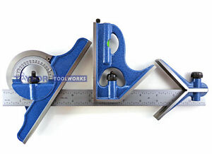 Pec 24 4r 4 Pc Combination Machinist Square Protractor 1 64 1 32 1 16 1 8