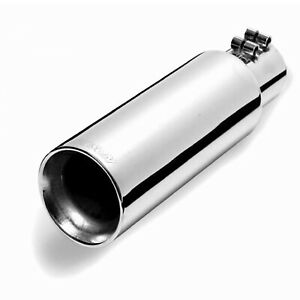 Gibson 500422 Universal Stainless Steel Round Exhaust Tip 2 5 In 3 Out