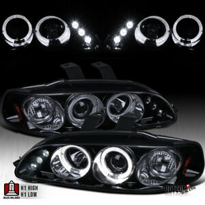 For 1992 1995 Honda Civic Black Smoke Led Dual Halo Projector Headlights Pair