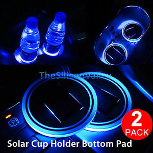 2x Solar Led Light Cup Holder Bottom Pad Cover Trim Atmosphere Lamp For All Car