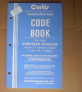 Curtis Chrysler Vehicles Key Code Book With j Revised 10 92 New Old Stock