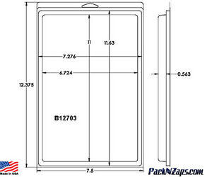 B12703 60 12 4 h X 7 5 w X 0 6 th Clamshell Packaging Clear Plastic Pack
