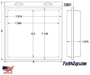 C8801 115 8 h X 8 w X 1 8 th Clamshell Packaging Clear Plastic Blister Pack