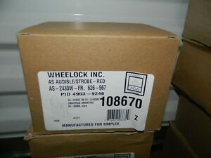 New Cooper Wheelock As 2430w fr 127406 Audible Strobe Red Simplex 4903 9246