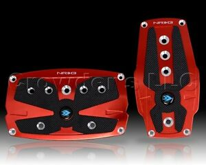 Nrg Brushed Red Aluminum Sport Pedals W Black Rubber Inserts Mt Pdl 250rd