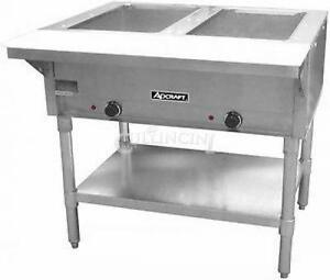 Adcraft Steam Table 2 Bay Stainless Steel Deep Well Commercial Cutting Board Tra