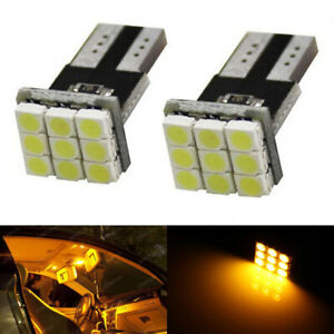 Amber Yellow 168 194 2825 T10 9 smd Led Bulbs For Car Interior Map Dome Lights