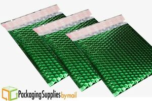Green Metallic Glamour Bubble Mailers Padded Envelope Bags 7 5 X 11 250 case