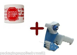 Free 2 Tape Gun Dispenser With White Stop Sign Tape 2 X 110 Yds 12 Rolls 2 Mil