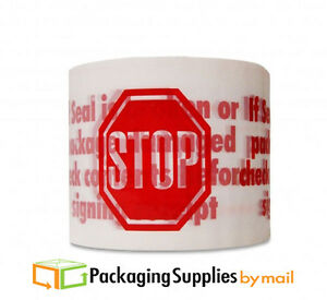 1080 Rolls Red Stop Printed White Packing Packaging Tape 3 X 2 Mil 110 Yds