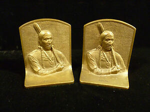 Signed Solid Bronze Native American Indian Chief Avona Book Ends Circa 1910