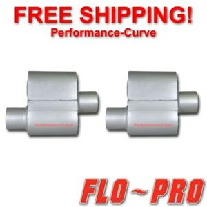 Pair Of Single Chamber Performance Race Mufflers Flo Pro O C 2 5 V72541