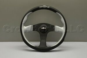 Nardi Personal Pole Position Steering Wheel 350mm Silver Black Leather