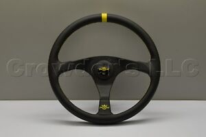 Nardi Personal Trophy Steering Wheel 350mm Black Leather Yellow Stitching