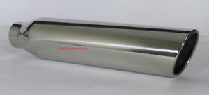 Stainless Steel Exhaust Tip Rolled Edge 2 5 Inlet 4 Outlet 18 Long