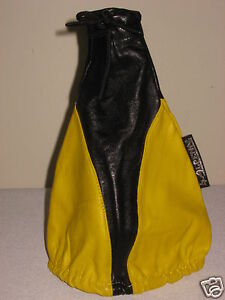 Universal Fit Manual Shift Boot Cover 100 Genuine Leather Yellow