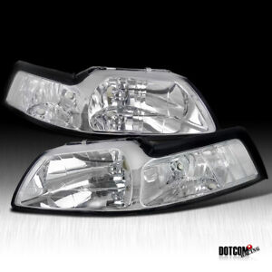 1999 2004 Ford Mustang Headlights Lamps Chrome Clear Replacement Lh rh