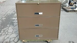 File Cabinet 3 Drawer Lateral 42 w Brown Mcdowell Craig We Deliver Locally Ca
