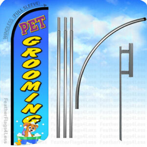 Pet Grooming Windless Swooper Flag 15 Kit Feather Banner Sign Bq