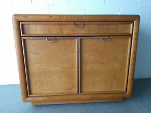 Mcm Broyhill Burl Wood Dry Bar Server Cart Contact Us For A Shipping Quote