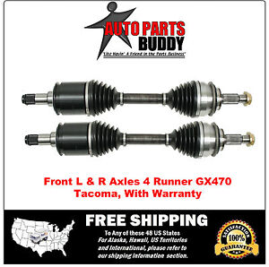 2 New Front Cv Axles 4runner Tacoma Gx470 Fj Cruiser With 2 Year Warranty