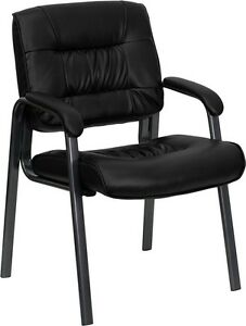 Lot Of 12 Black Leather Guest Reception Office Chairs