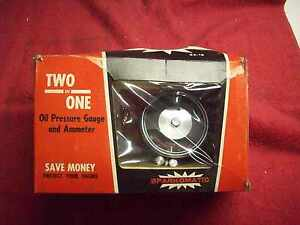 Vintage 1960 S Nos Sparkomatic Two In One Gauge Oil Pressure Amp In Original Box