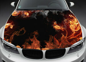 Flame Flowers Hood Full Color Graphics Wrap Decal Vinyl Sticker Fit Any Car 022