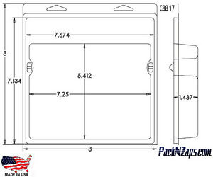 C8817 115 8 h X 8 w X 1 4 d Clamshell Packaging Clear Plastic Blister Pack