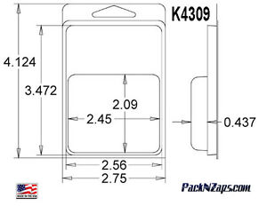 K4309 875 Clamshell Packaging Clear Plastic Blister Pack 4 h X 3 w X 0 437 d