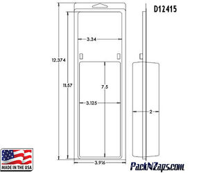 D12415 115 12 h X 4 w X 2 d Clamshell Packaging Clear Plastic Blister Pack