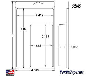 E8548 250 8 h X 4 7 w X 0 9 d Clamshell Packaging Clear Plastic Blister Pack