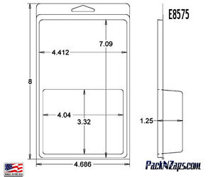 E8575 300 8 h X 4 6 w X 1 25 d Clamshell Packaging Clear Plastic Blister Pack