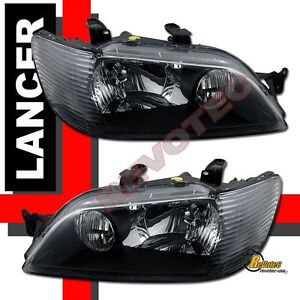 2002 2003 Mitsubishi Lancer Ls Es Oz Black Headlights 1 Pair