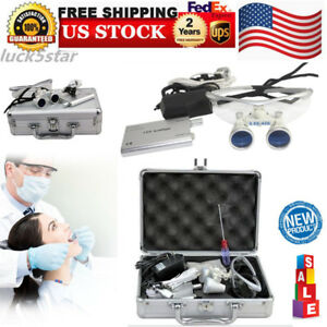 New 3 5x420 Dental Surgical Binocular Loupes portable Led Headlight aluminum Box