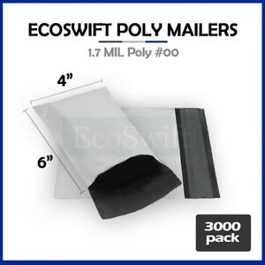 3000 4x6 White Poly Mailers Shipping Envelopes Self Sealing Bags 1 7 Mil 4 X 6